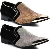 New Men Metal Toe Dress Shoes Rhinestone Diamond Loafers Slip On Classic Cristo