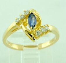 14k Solid Yellow gold Natural Marquise Blue Sapphire  &  Diamond Ring 0.27 ct