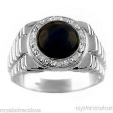 Mens Ring Diamond Onyx 14K Yellow or White Gold Band
