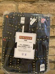 Pottery Barn PB Teen Organic Pacman PAC-MAN Flannel pajama set pjs pj Size Large
