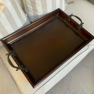 Bombay Company Large Vintage Wood Serving / Bed Tray With Bronze Handles