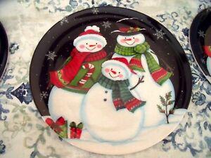 "NEW Set 6 Holiday SNOWMAN FAMILY Dinner PLATES 8"" Melamine Snowflakes Scarf"