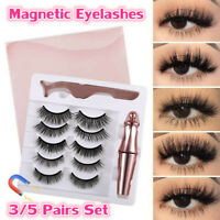 Magnetic Eyelashes With Eyeliner 3/5 Pairs & Tweezer False Long Lashes Set