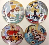 Country Kitties Collector Plate Gerardi Kitten Cats Set of 4 Plates NEW