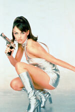 Elizabeth Hurley Leggy Pose Silver Dress And Boots With Gun 11x17 Poster