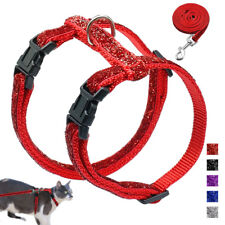 Shiny Sequins Adjustable Cat Harness Nylon Strap Collar with Leash for Walking