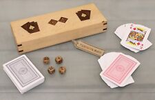 Kundali Double Playing Card Box with Dice Sheesham and Brass Inlay Bridge Poker