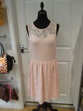 ONLY Summer Dress NWT Pink Lace Skater with Sweetheart Neckline Size Large