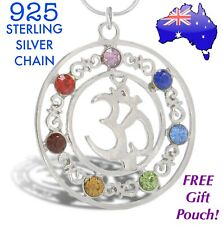 OM 7 Stone Chakra Crystal Healing Point Reiki Gemstone Sterling Silver Necklace