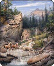 79x96 Queen Size Canyon Run Horses Nature Scene Mink Fleece Blanket Super Plush