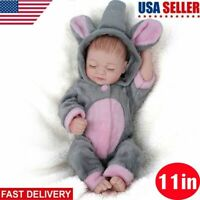"Reborn Baby Girl Dolls 11"" Full Body Silicone Vinyl Handmade Xmas Gifts Doll Toy"