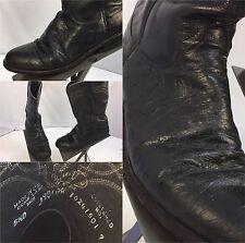 Justin Ostrich Cowboy Boots Sz 5.5 B Women Black Made In USA EUC YGI M