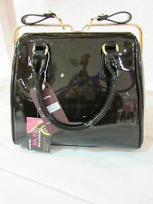 Purse Black with Gold Metallic Glitter Patent Leather Slide Glide Clasp NWT P54