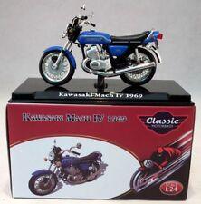 Atlas 1/24 Scale appx 6cms Kawasaki Mach IV 1969 Blue + Plinth Model Motorbike