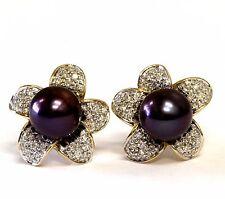 14k yellow gold womens .31ct  VS G diamond dyed pearl flower earrings antique