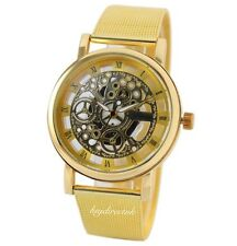Men's Gold Transparent Steampunk Skeleton Stainless Strap Mechanical Watch Free