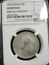 1900 STRAITS SETTLEMENTS 50 CENT COIN GRADED AU DETAILS by NGC RARE!