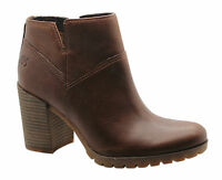 Timberland Swazey Ankle Heel Womens Boots Brown Leather Suede Zip Up A14SH D118