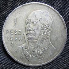 1950 30% Silver Mexican 1 Peso - JOSE MARIA MORELOS ROUND MEXICO BULLION COIN