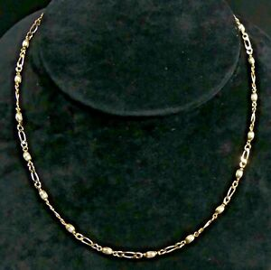 LOVELY 9 CT GOLD FIGARO & BEAD LINK CHAIN 61 CM NECKLACE - 11 GRAMS