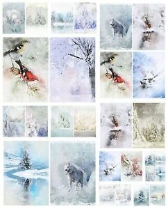 WINTER SCENES CHRISTMAS  BACKING PAPERS - 4/12 x A4 Sheets- 160gsm