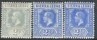 Sierra Leone 1912 part set multi-crown CA perf 14 mint SG115/116/116a (3)