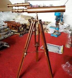 Antique Brass TELESCOPE Nautical With Wooden Tripod Stand U.S Navy Vintage Gift