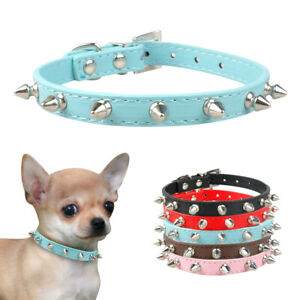 Sharp Pet Dog Spiked Studded Leather Collar for Small Medium Dogs Cats Pink XS-L