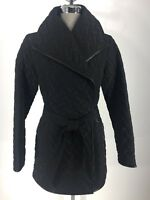Cole Haan New WT Black belted Quilted Women's Coat leather trim size S,M,L