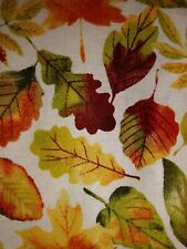 MULTI COLOR FALL LEAVES ON WHITE **HOLIDAY** Fabric Scrap Quilt Sew Craft