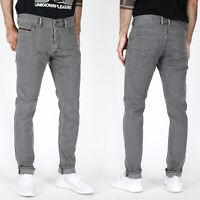 Diesel Herren Slim Tapered Fit Röhren Stretch Jeans Hose Grau - Tepphar R18D6