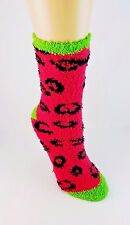 Fuzzy socks crew length hot pink animal print spots polyester ladies size 9-11