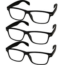 3 PACK LOT Smart Black Interview Fashion Rectangular Clear Lens Fake Glasses New