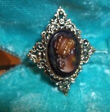BROOCH Vintage Chocolate CAMEO signed Gerry's