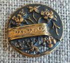 Antique Vtg Picture Button Art Nouveau Floral Open Work Aprx 1 322 F