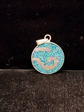Vintage Taxco Silver Turquoise Abstract Design Pendant