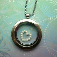 Sterling Floating Charm Locket Necklace -  Ivory Pearl Frame Heart