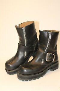 GBX Womens 11.5 Black Leather Chunky Harness Combat Biker Punk Boots