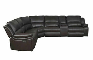 NEW Modern Sofa Sectional Brown Faux Leather Power Reclining Living Room Set