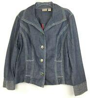 CHICO'S Size L Denim Jacket Size 2 Blue Cotton Lightweight Classy