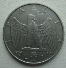 Italy 1 Lira 1939 Vittorio Emanuele III Stainless Steel Coin S10