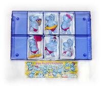 Happy Hippos  -  Ferrero Satz 1988 Hellblaue Figuren mit 1 BPZ