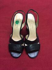 Talbots Black Leather High Heeled Sandals Shoes Size 5.5 EUC
