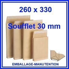 200 ENVELOPPES KRAFT SOUFFLET  260 x 330 mm ~ A4 - LIVRAISON GRATUITE