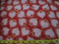Hugs & Kisses Cotton Fabric Scrolled Heart Red & Pink Gold Lined Fabric