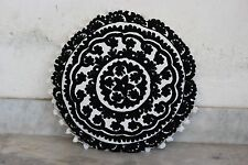 Flower  Embroidered Suzani Round Cushion Cover Round  Pillow Case 16'' CU22