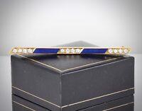 Antique Art Deco 18Ct Gold , Diamond And Blue Guilloche Enamel Bar Brooch / Pin