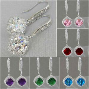 Fashion 925 Silver Drop Earrings 6 Colours Cubic Zircon Women Jewellery Gift UK