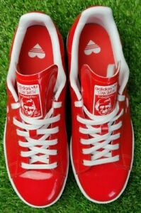 Adidas Stan Smith Red patent leather trainers, UK size 8 G28136