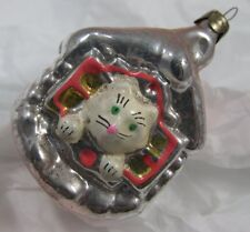 Vintage Cat in House Glass Christmas Tree Ornament - Some damage